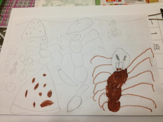 画的第一幅画《蚂蚁吃西瓜》,由于时间不够,还没有上好颜色.回来